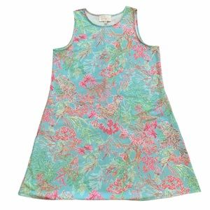 Pappagallo Pink and Green Floral Sleeveless Dress
